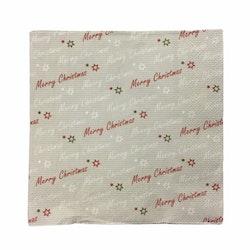 Julservett Merry Christmas i 4 lager. Färg: Grå med text i vitt och rött.
