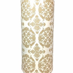 Cylinderkruka med ett medaljongmönster. Färg: Vit och guld.