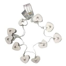 Hjärtan en batteridriven ljusslinga med 10 st LED-ljus. Färg: Vit.