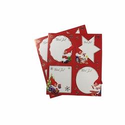 Julklappsetiketter 8 st stora med klistersida. Mått: 6,5 x 8,0 cm.