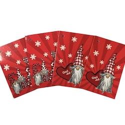 Julklappsetiketter 4 st med snöre som knyts fast på julklapparna. Mått: 4,5 x 6,0 cm vikta.
