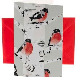 Domherre Julkort med ett rött kuvert från Cult design. Mått: 11,5 x 17 cm.