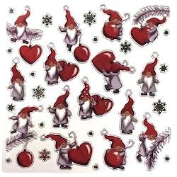 Julstickers med söta tomtar. Färg: Rött och grått.