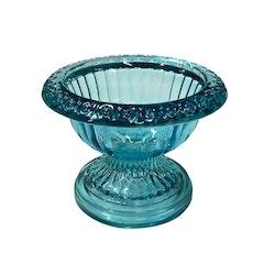 Glass-skål/godisskål i glas. Färg: Turkos.