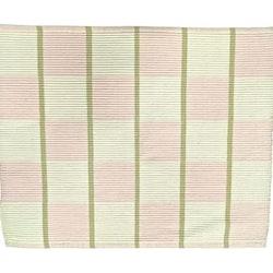 Rips en tablett i bomull. Färg: Rosa och vitrutig (off-white) med gröna ränder..