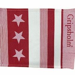 Star en tablett i bomull från Gripsholm. Färg: Röd och vit.