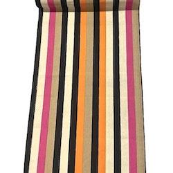 Löpare i bomull. Färg: Randig med ränder i beige, rosa och svart.