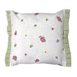 Blomma ett kuddfodral i bomull. Färg: Vitt med ett tryck med blå, rosa, gula blommor och gröna blad.