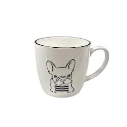 Hund en kaffe, te, chokladmugg i porslin. Färg: Vit med ett Hundtryck i svart.