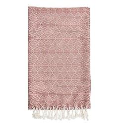 Smooth triangle en mjukt pläd i bomull med fransar, art.nr 22944-383. Färg: Rosa och vit.