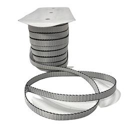 Markisband 9 mm i polyester. Färg: Silver med svart kant.