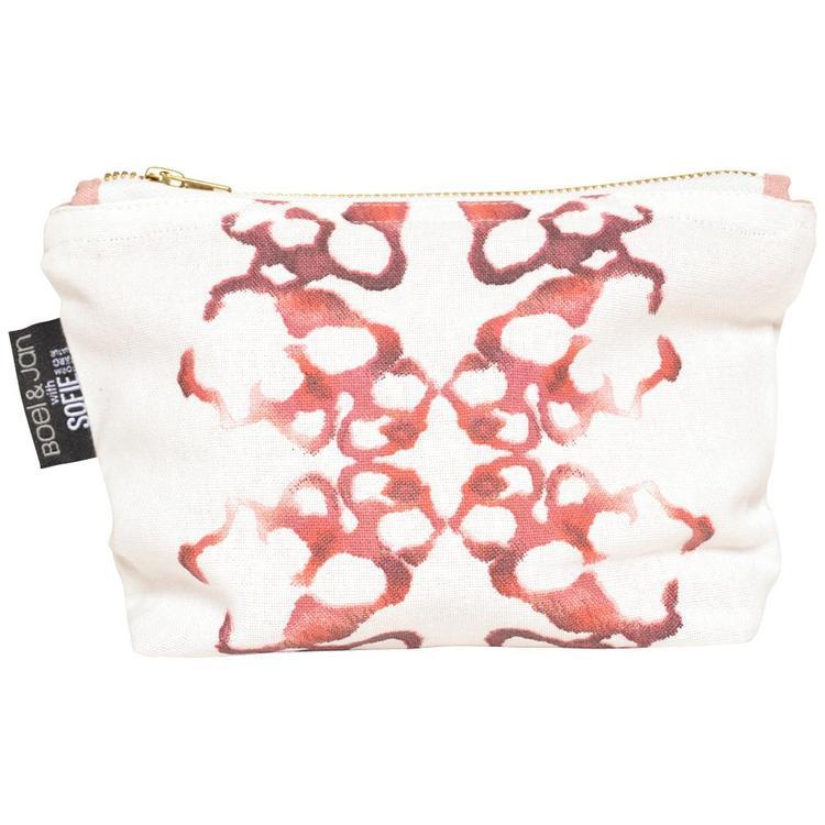 Mirror glow en liten necessär/sminkväska. Färg: Vit med ett rosa mönster.