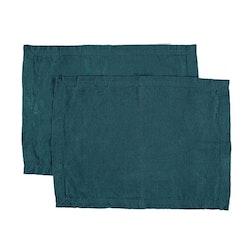 Bordstablett i tvättat linne Från Gripsholm i 2-pack. Artikelnr 917327. Färg:Färg: Petrol.