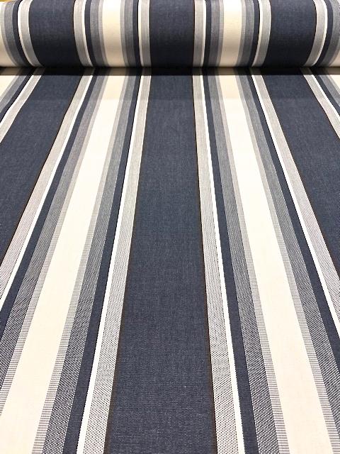 Markisväv/uteväv Samos. Färg: Marinblå, vita och grå ränder.