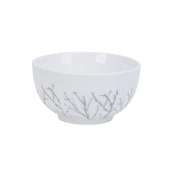 Björk en skål från modern house. Färg: Vit med grå dekor.