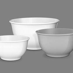 Smak ett skålset med 3 skålar från Modern house. Färg: 2 vita och en grå skål.