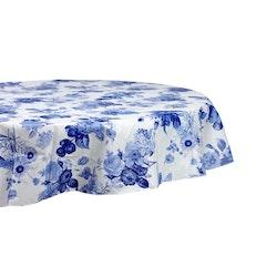 Rund vaxduk från Noble house. Färg: Vit med blå blommor.
