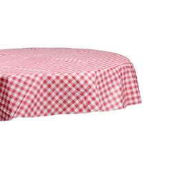 Rund vaxduk från Noble house. Färg: Vit med rosa rutor.