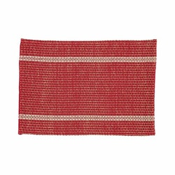 Klas är en tablett från Noble house i bomull och jute. Färg: Röd, vit och jutefärgad.