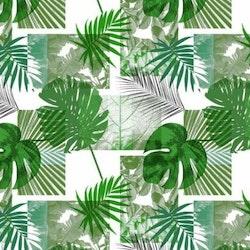 Djungel 2 en vaxduk på metervara. Färg: Grön, grå och vit.