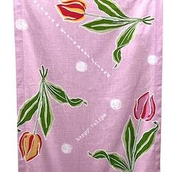 REA! Tulpan panelgardiner i 2 pack. Färg: Rosa med gulröda blommor och gröna blad.