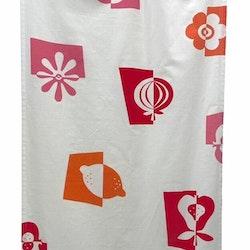 REA! Lollipop panelgardiner i 2 pack. Färg: Vit med rosa, orange och rött mönster.