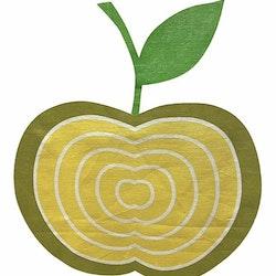 REA! Äpplet panelgardiner i 2 pack. Färg: Vit med ett tryck i gult och grönt.