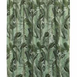 Fons ett gardinset i sammet med mönster med gröna fjädrar. Färg: Grön.