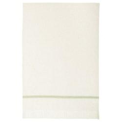 Eslöv en våfflad kökshanduk 100% bomull med fransar. Färg: Off-white med en grön bård.