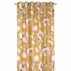 Lilli ett gardinset med multiband. Färg: Gul med rosa blommor.