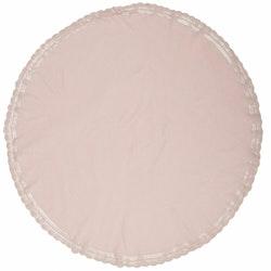 Hedda en rund bordsduk med spetskant runt om i bomull, diameter 160 cm. Färg: Rosa.