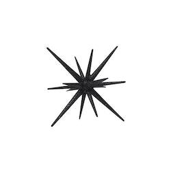 Sputnik en stjärnformad dekoration med glitter. Färg: Svart.