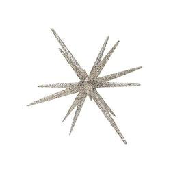 Sputnik en stjärnformad dekoration med glitter. Färg: Silver.