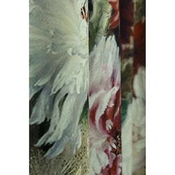 Flores ett gardinset i sammet med multiband. Färg: Beige botten med färglada blommor.