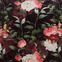 Tripoli ett gardinset i sammet med multiband. Färg: Svart botten med ett vackert blommönster i en massa färger.