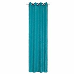 Signe ett gardinset med öljetter från Noble house. Färg: Turkosblå.
