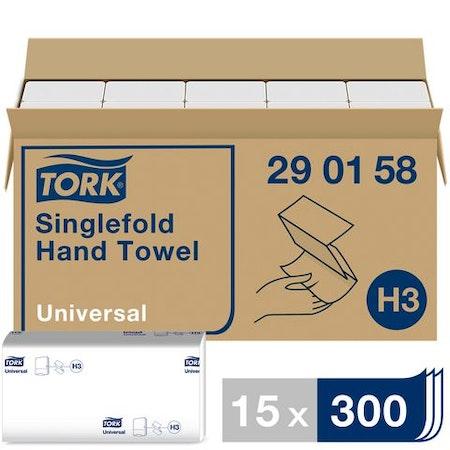 Handduk TORK Uni H3 1-lag vit 4500/FP