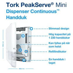 Dispenser TORK H5 PeakServe Mini vit