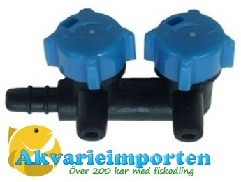 Luftkran i plast 2-vägs för luftslang 4/6 mm.
