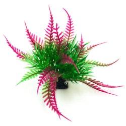 Plastväxt Fern grön med lila detaljer 6 cm