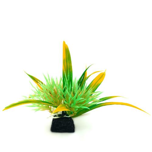 Plastväxt Helanthium grön/ gula detaljer 10 cm