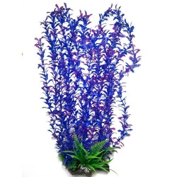Plastväxt Shinnersia blå/lila med rosa detaljer 55 cm