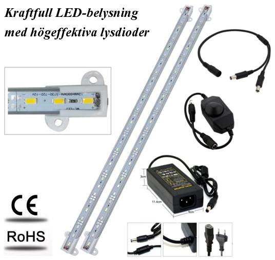 Akvariebelysning - Paket med 2 st LED-lister 26 cm
