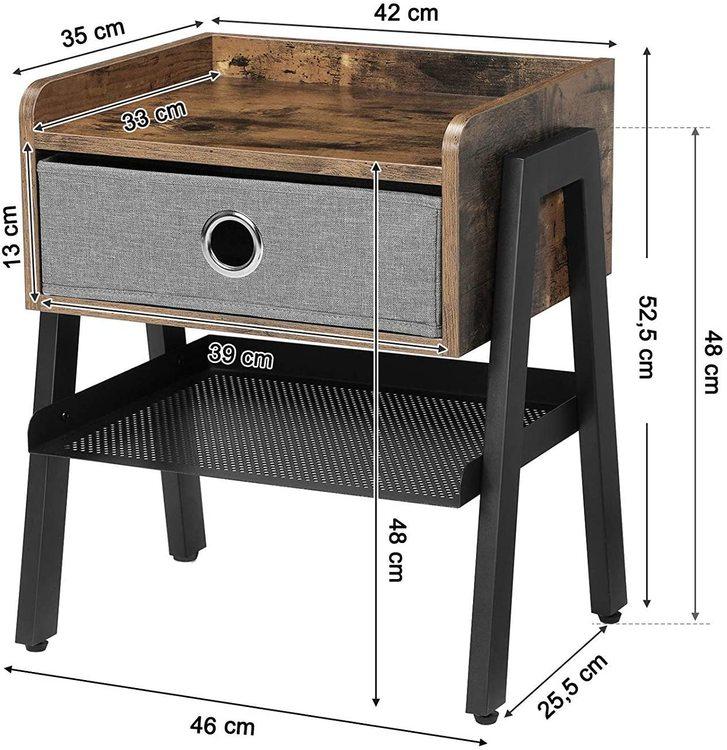 Vasagle Sängbord Industri Med Tyglåda