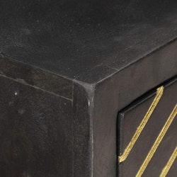 Avlastningsbord svart och guld 90x30x75 cm massivt mangoträ