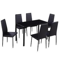 Matsalsmöbelset 7 delar svart