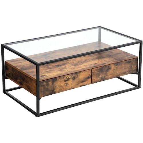 Vasagle Soffbord Med Lådor Glastopp Industriell Stil