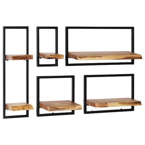 Vägghylla 5 delar massivt akaciaträ och stål