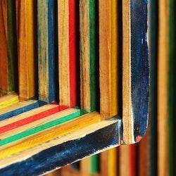 Vägghylla 3 delar massivt återvunnet teakträ flerfärgat