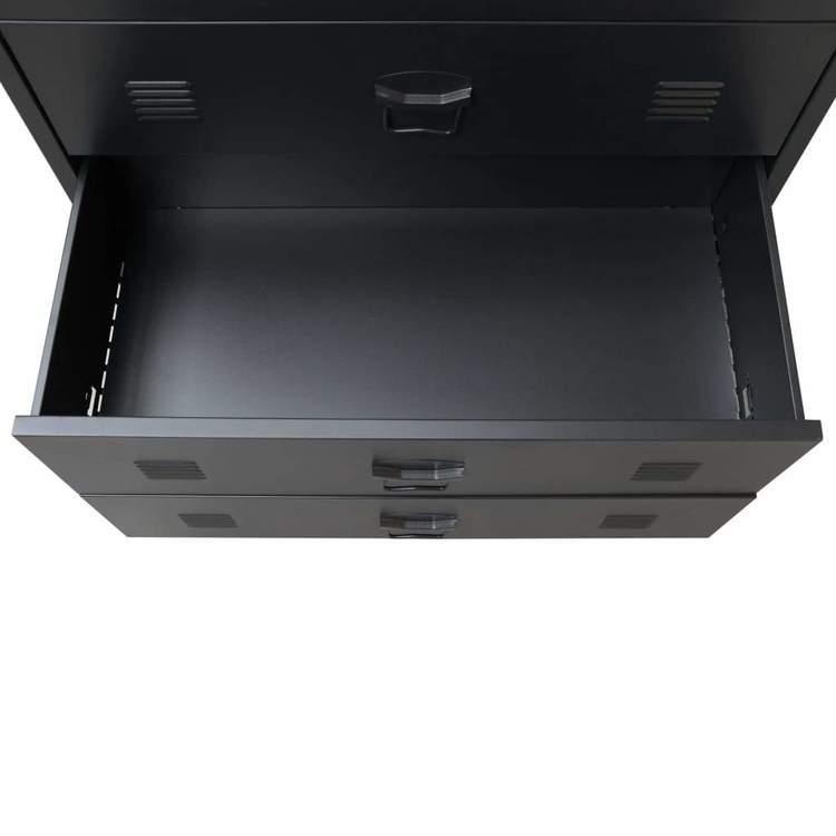 Byrå industriell stil metall 78x40x93 cm svart